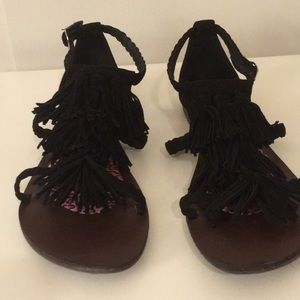 Shoes - Tassel Fringe Black Sandals Size 10